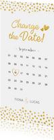 Change-the-Date-Karte mit Kalender und goldenen Herzen