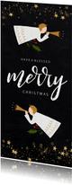 Christelijke kerstkaart met engeltjes en gouden sterren