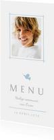 Communie menukaart foto en blauw duifje