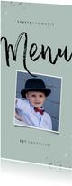 Communie menukaart hip met foto en zilveren spetters