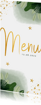 Communie menukaart hip met planten, waterverf en goudlook
