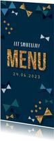 Communie menukaart jongen confetti strikjes goud