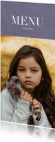 Communiekaarten - Communie menukaart minimalistisch met foto