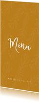 Communie menukaart stijlvol oker en takjes
