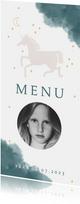 Communie menukaart stijlvol unicorn en waterverf