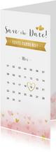 Communie Save the Date kaart met gouden en roze hartjes