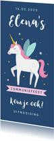 Communie uitnodiging unicorn eenhoorn feestje meisje