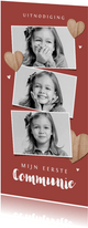 Communiefeest uitnodiging fotokaart houten hartjes