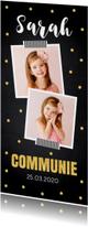 Communiekaart langwerpig foto confetti goud