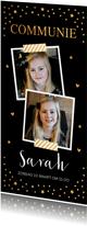 Communiekaart langwerpig foto gouden confetti