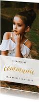 Communiekaart met goudlook communie en grote foto
