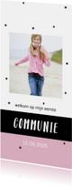 Communiekaart met zwarte confetti en eigen foto