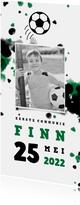 Communiekaart voetbal met foto en spetters