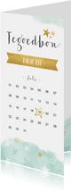 Dagje uit tegoedbon kaart met kalender en sterren