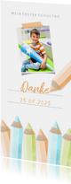 Dankeskarte Einschulung orange Buntstifte und eigenes Foto
