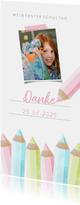 Dankeskarte Einschulung rosa Buntstifte und eigenes Foto