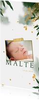 Dankeskarte Geburt Foto botanische Aquarelloptik grün