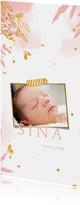 Dankeskarte Geburt Foto botanische Aquarelloptik rosa
