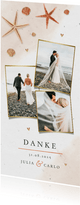Dankeskarte Hochzeit mit eigenen Fotos, Seestern & Muscheln