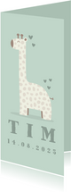 Dankeskarte zur Geburt Giraffe grün Foto innen