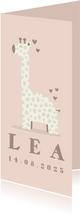 Dankeskarte zur Geburt Giraffe rosé Foto innen