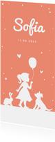 Dankeskarte zur Geburt Silhouette apricot Foto Rückseite