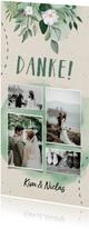 Dankeskarte zur Hochzeit Blumen & Doodles mit Fotos