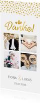 Dankeskarte zur Hochzeit in gold mit Fotocollage