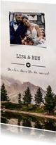 Dankeskarte zur Hochzeit mit Foto und Landschaft