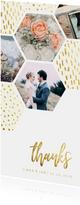 Dankeskarte zur Hochzeit mit Fotocollage im Goldlook