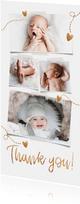 Danksagung Geburt eigene Fotos Herzen Goldlook