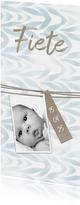 Danksagung Geburt hellblau Foto Anhänger mit Schnur