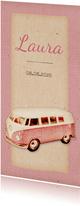 Danksagung Geburt mit Bulli rosa und Foto Rückseite