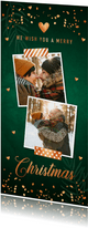 Donkergroene kerstkaart foto confetti koperlook