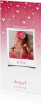 Doopkaartje roze waterverf ombre met dwarrelhartjes en foto