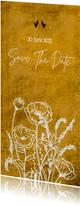 Eigentijdse save the date kaart voor bruiloft wilde bloemen
