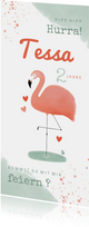 Einladung Kindergeburtstag Flamingo mit Herzen