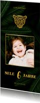Einladung Kindergeburtstag mit Foto und Dschungel Blättern