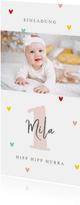 Einladung Kindergeburtstag mit Foto und Herzchen