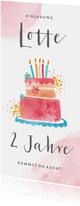 Einladung Kindergeburtstag Torte und Blumen