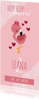 Einladung Kindergeburtstag Wasserfarbe, Flamingo und Herzen