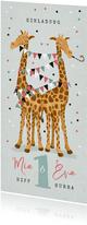 Einladung Kindergeburtstag Zwilling lustige Giraffen