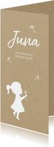 Einladung Taufe Mädchen Pusteblume Kraftpapier