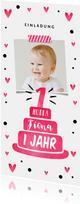 Einladung zum 1. Geburtstag mit pinker Torte und Herzen