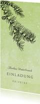 Einladung zum Geburtstag winterlicher Nadelbaum