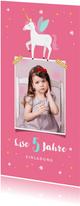 Einladung zum Kindergburtstag Foto und Einhorn rosa