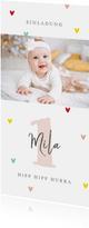 Einladung zum Kindergeburtstag bunte Herzchen & Foto