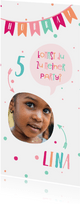 Einladung zum Kindergeburtstag fröhlich-rosa