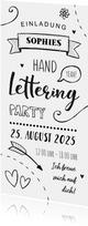 Einladung zum Kindergeburtstag Handlettering