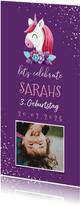 Einladung zum Kindergeburtstag lila Einhorn und Konfetti